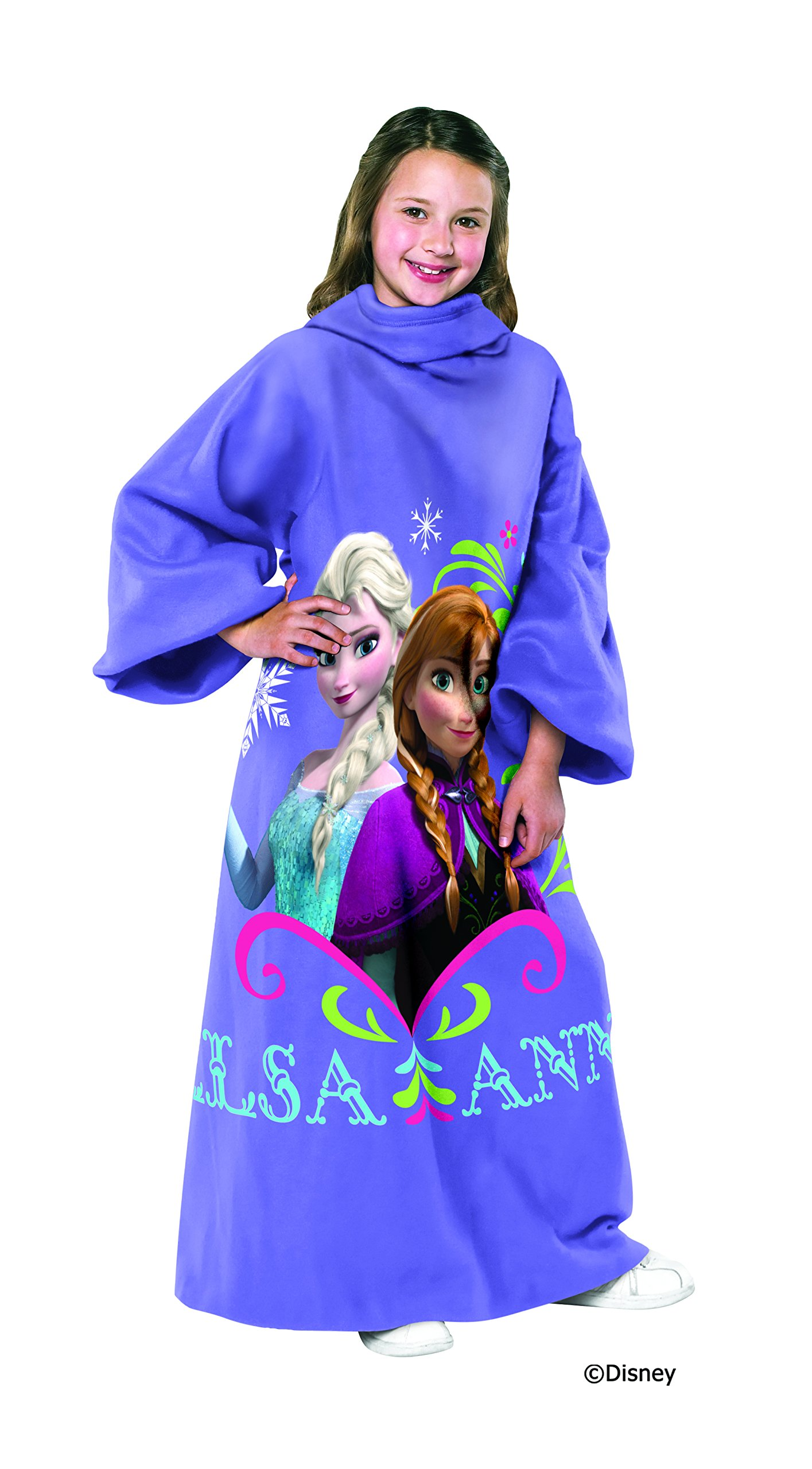 Disney Frozen, Sisters Youth Comfy Throw Blanket with Sleeves, 48'' x 48'', Multi Color