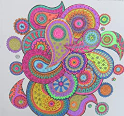 This is a photo of Obsessed Colorama Coloring Book Flowers Paisleys Stained Glass And More
