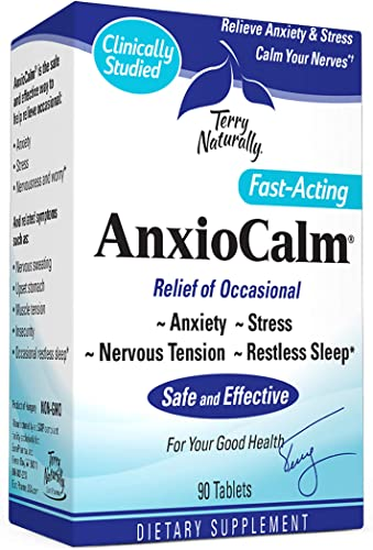 Terry Naturally AnxioCalm – 40 mg, 90 Tablets – Non-Addictive Anxiety Stress Relief Supplement, Non-Drowsy, Worry, Restless Sleep – Non-GMO, Gluten-Free – 45 Servings