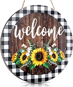 Jetec Sunflower Buffalo Plaid Welcome Sign 12 x 12 Inches Rustic Sunflower Front Door Decor Farmhouse Porch Decoration Round Wooden Hanging Sign for Home, Restaurant, Shop