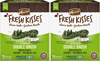 product image for Merrick Fresh Kisses Coconut Oil Double-Brush Dental Treats - X-Small 78 Count - Pack of 2