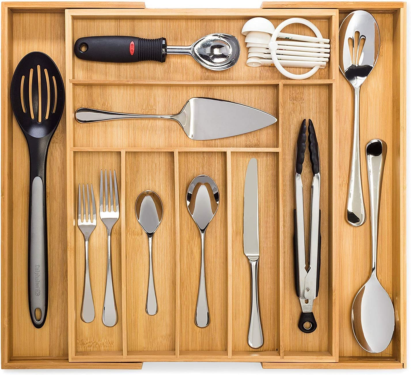 Amazon Com Bamboo Expandable Drawer Organizer Premium Cutlery And Utensil Tray 100 Pure Bamboo Adjustable Kitchen Drawer Divider 7 Compartments Expandable Kitchen Dining