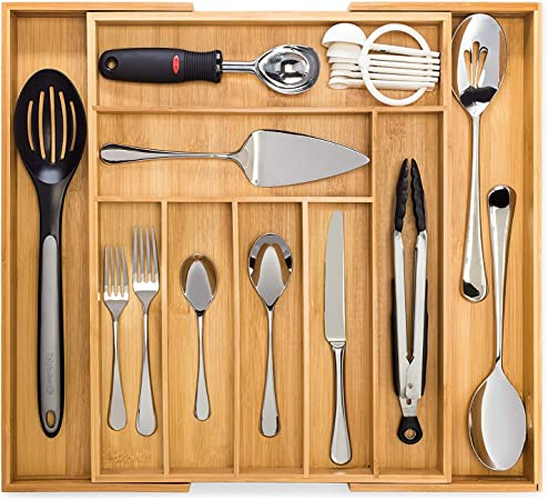 Bamboo Expandable Cutlery Tray Premium Drawer Organiser And