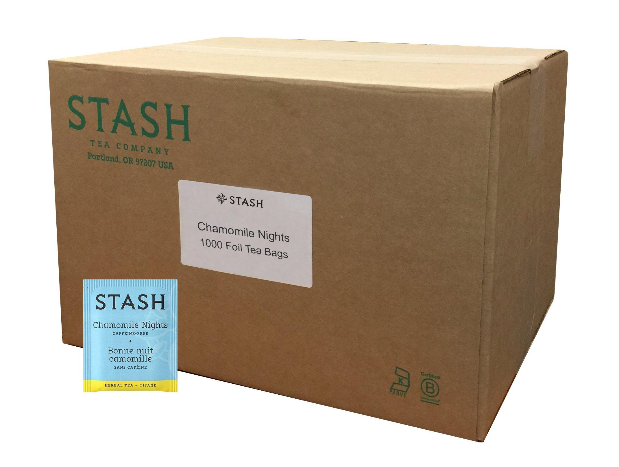 Stash Tea Chamomile Nights Herbal Tea 1000 Count Tea Bags in Foil (Packaging May Vary) Individual Herbal Tea Bags for Use in Teapots Mugs or Cups, Brew Hot Tea or Iced Tea