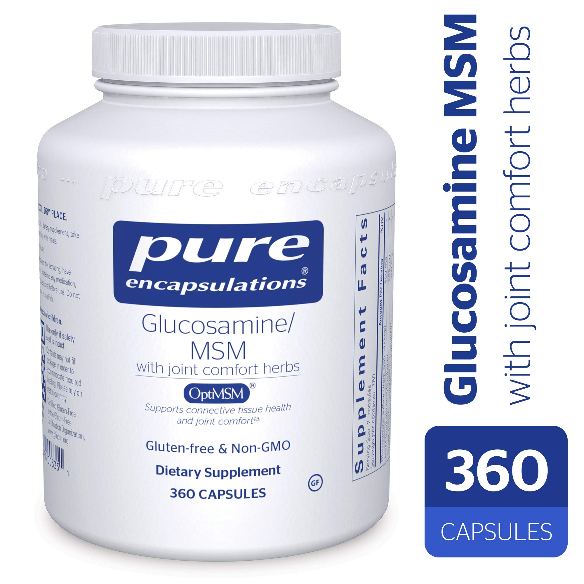 Pure Encapsulations - Glucosamine/MSM - Dietary Supplement Support for Healthy Joint Function and Tissues* - 360 Capsules
