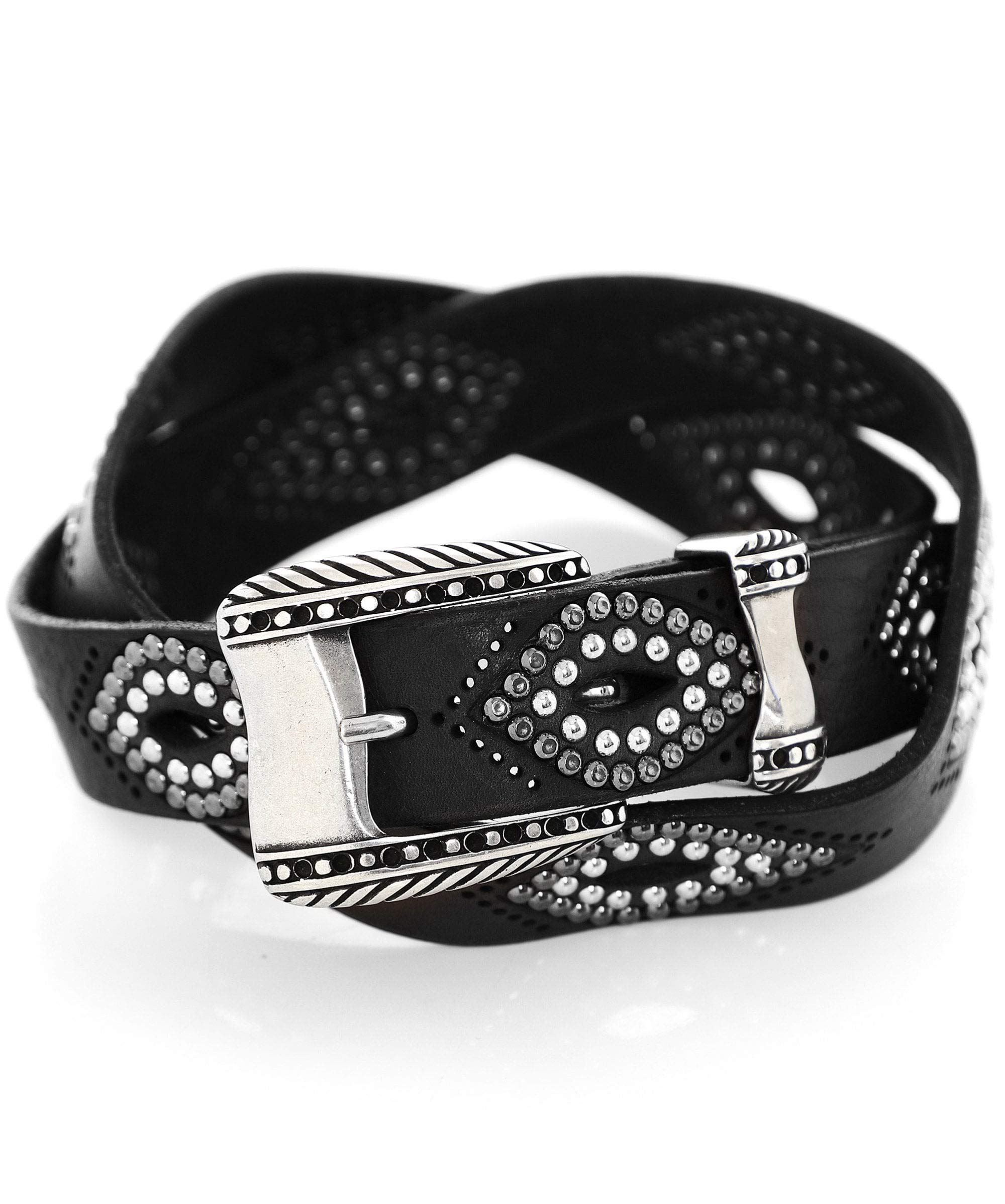 Nanni Women's Studded Leather Cut Out Belt Black 34