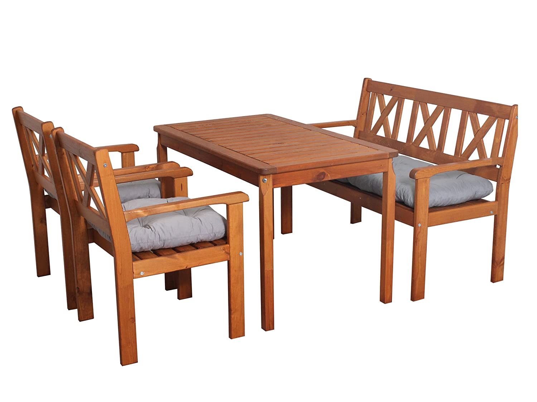 ambientehome 90549 garten sitzgruppe essgruppe massivholz evje braun inkl graue kissen 4. Black Bedroom Furniture Sets. Home Design Ideas