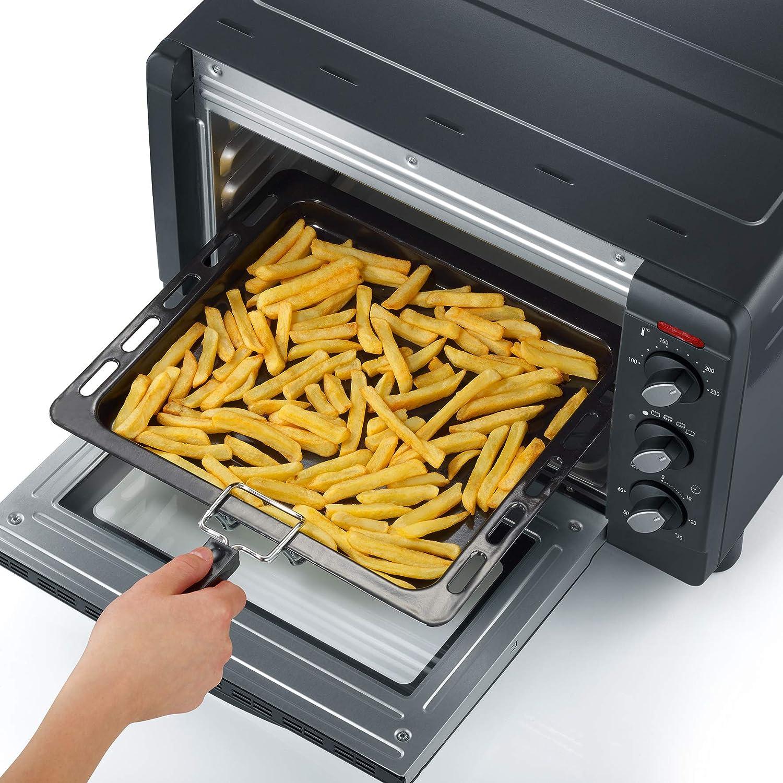 color plateado y negro 1.500 W SEVERIN TO 2060 Horno Tostador incluye Rejilla grill y Bandeja de horno 20 L