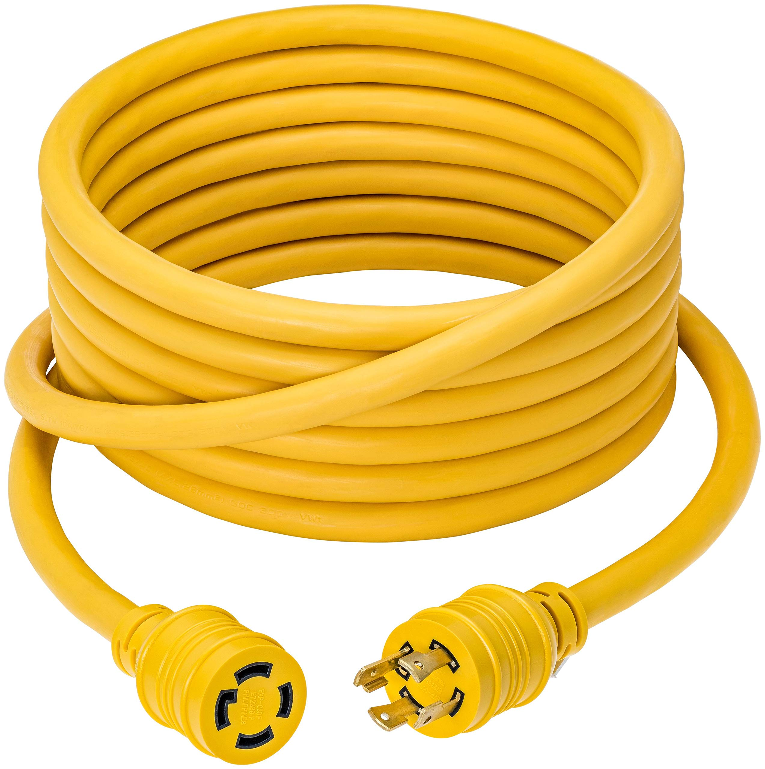 50 Foot Heavy Duty Generator Locking Power Cord NEMA L14-30P/L14-30R,4 Prong 10 Gauge SJTW Cable, 125/250V 30Amp 7500 Watts Yellow Generator Lock Extension Cord with UL Listed Magellan