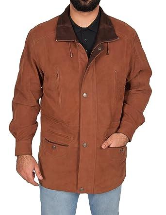 Mens Leather Parka Car Coat Classic Overcoat Mid Length Jacket Jason Tan Nubuck (Small)
