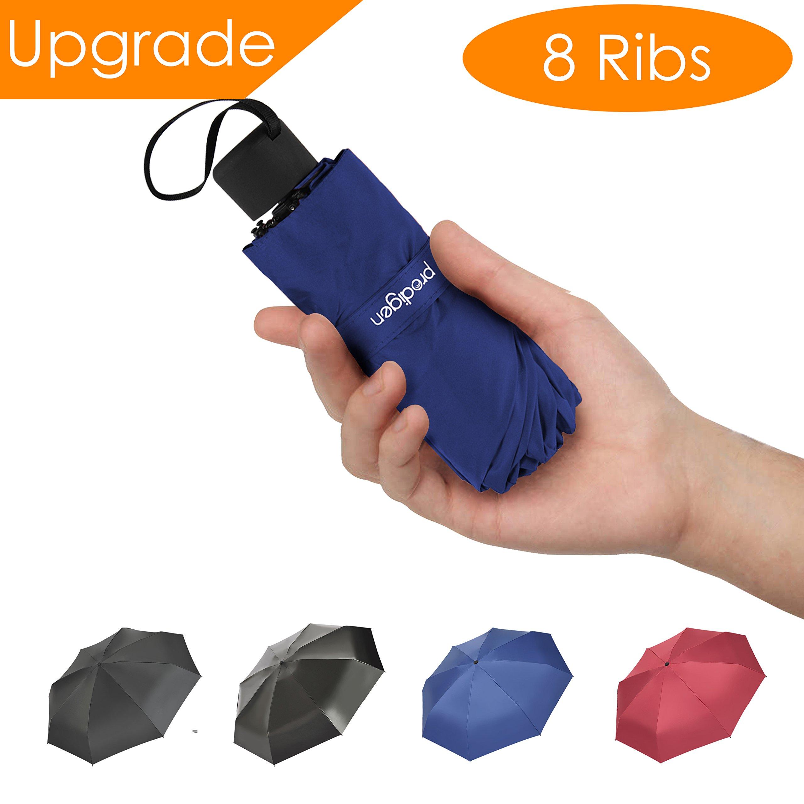 Prodigen Travel Mini Umbrella Windproof UV Folding Compact Umbrella Portable Lightweight Sun & Rain Umbrellas for Women and Men (Blue)