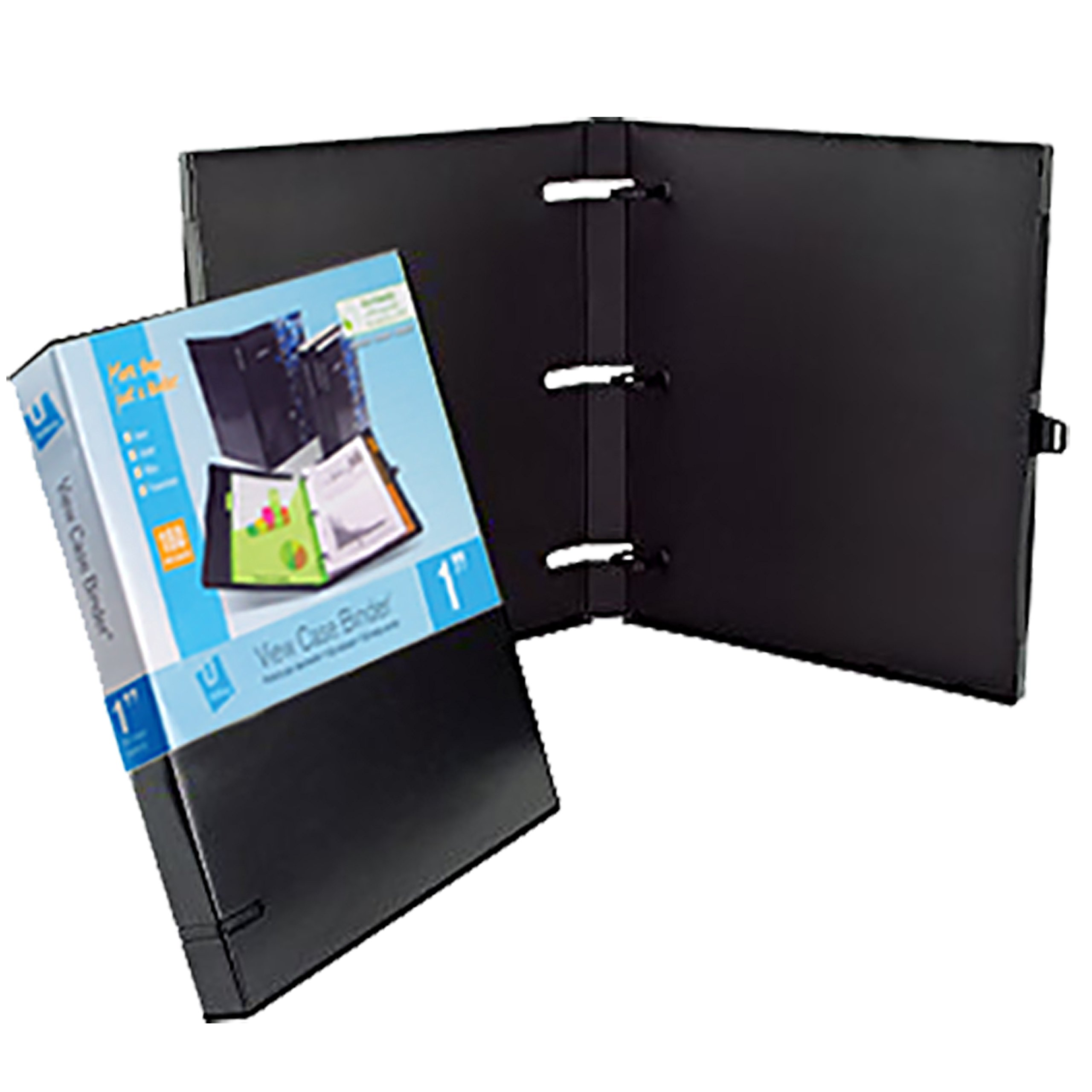 UniKeep 3 Ring Binder - Black - Case View Binder - 1.0 Inch Spine - With Clear Outer Overlay - Box of 20 Binders