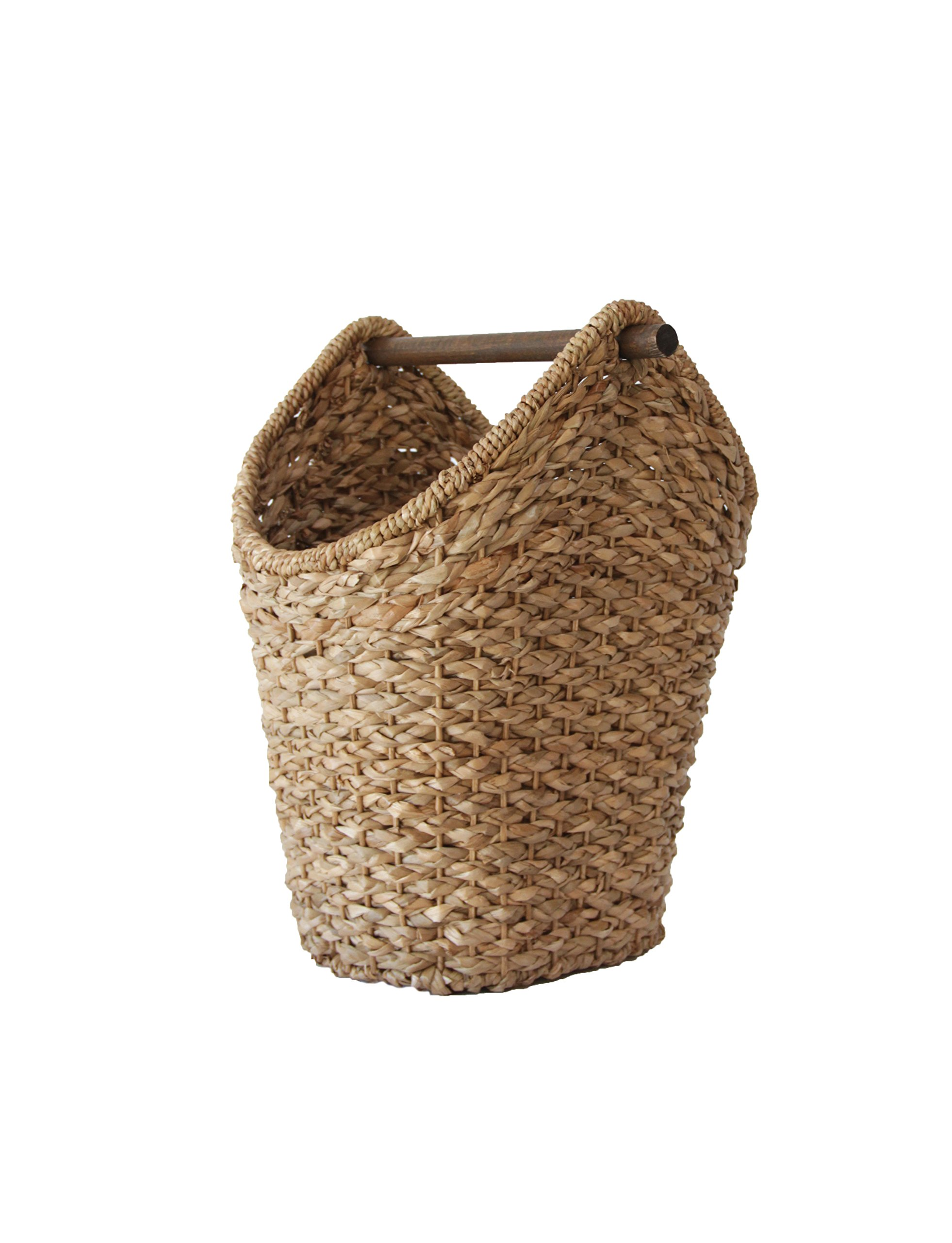Creative Co-op DA4836 Bankuan Braided Oval Toilet Paper Basket with Wood Bar