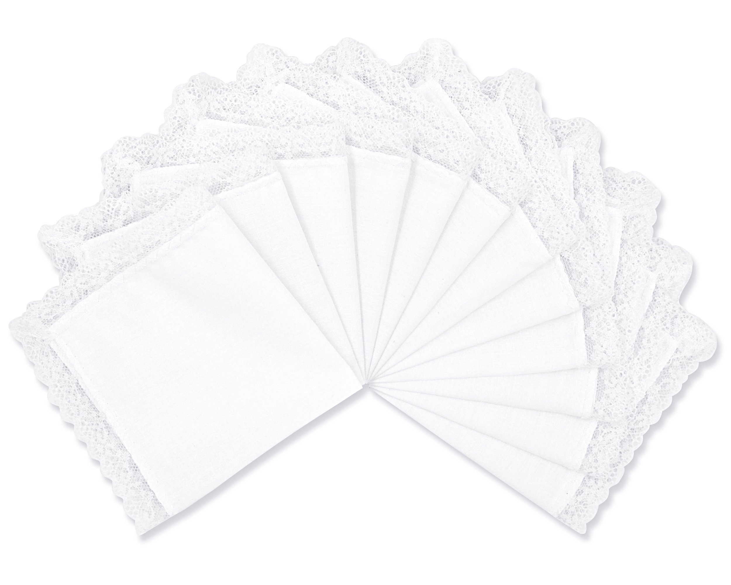 Milesky Solid White Wedding Cotton Handkerchiefs with Lace Edges Square 10 x 10'', LH03 (LH0312)