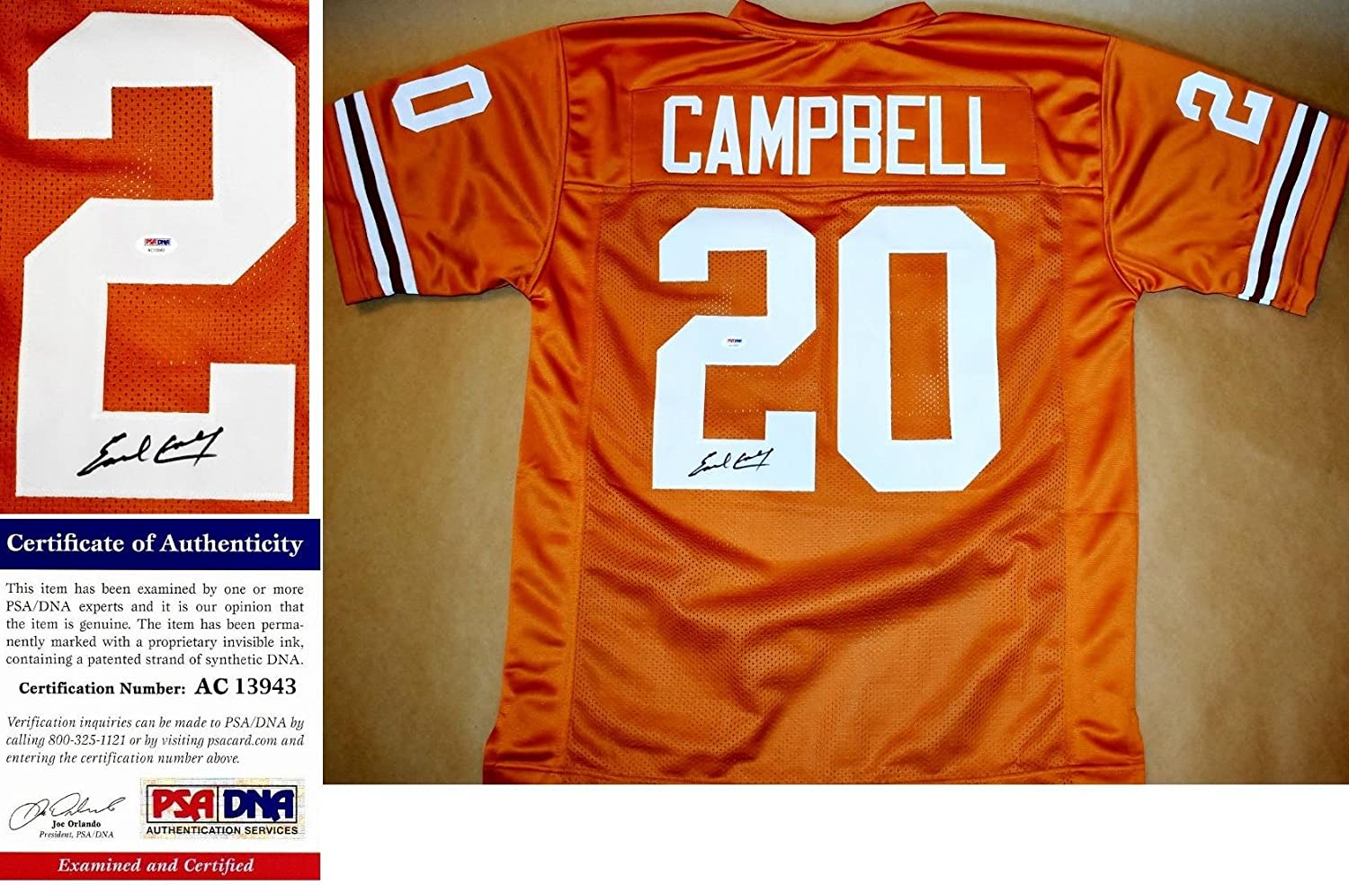 3215ac022 Autographed Earl Campbell Jersey - Orange Custom Certificate of  Authenticity COA) - PSA DNA Certified at Amazon s Sports Collectibles Store