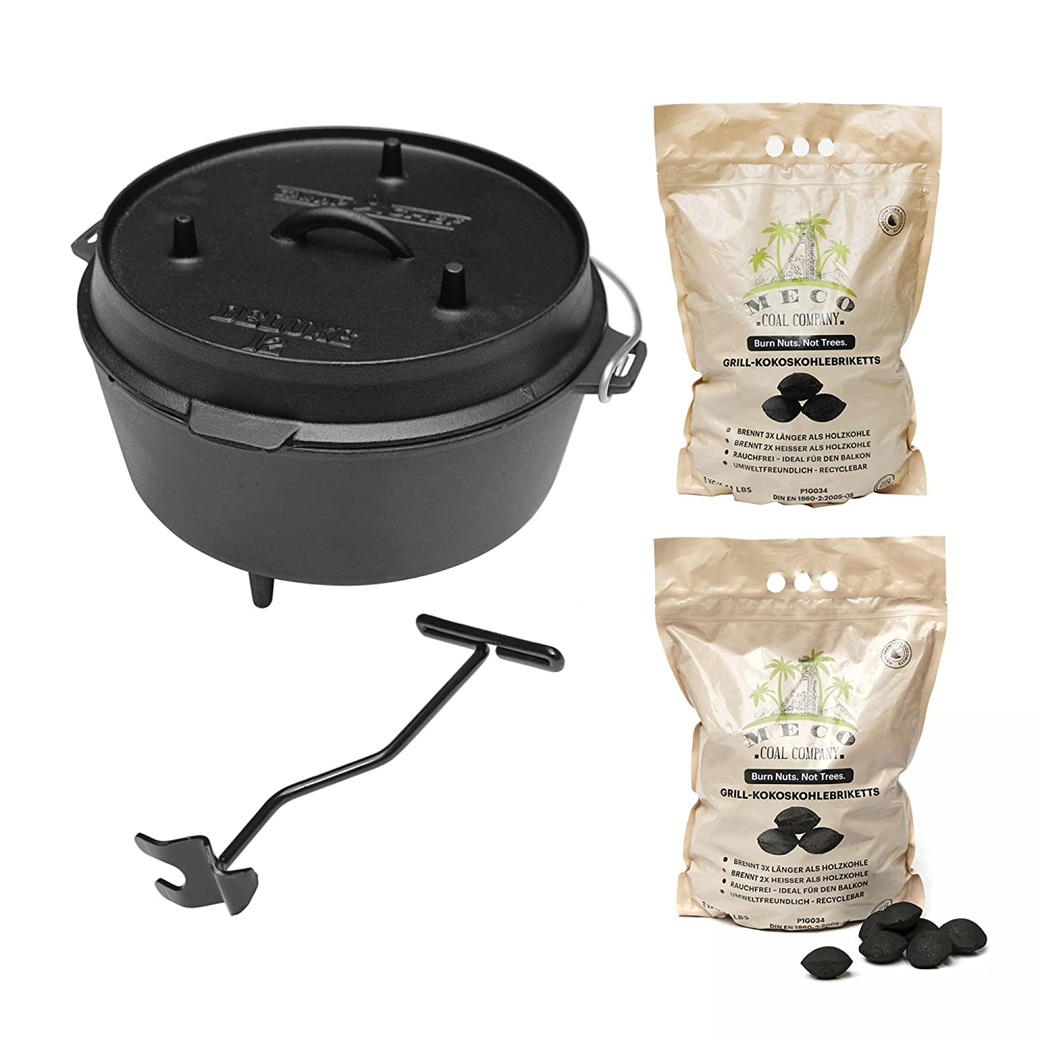 camp chef KS0861 Camp Chef Deluxe Dutch Oven DO-12 + MECO Grill-Kokoskohlebriketts 2er-Pack