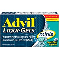 Advil Liqui-Gels Minis Pain Reliever and Fever Reducer, Ibuprofen 200mg, 80 Count, Fast Pain Relief