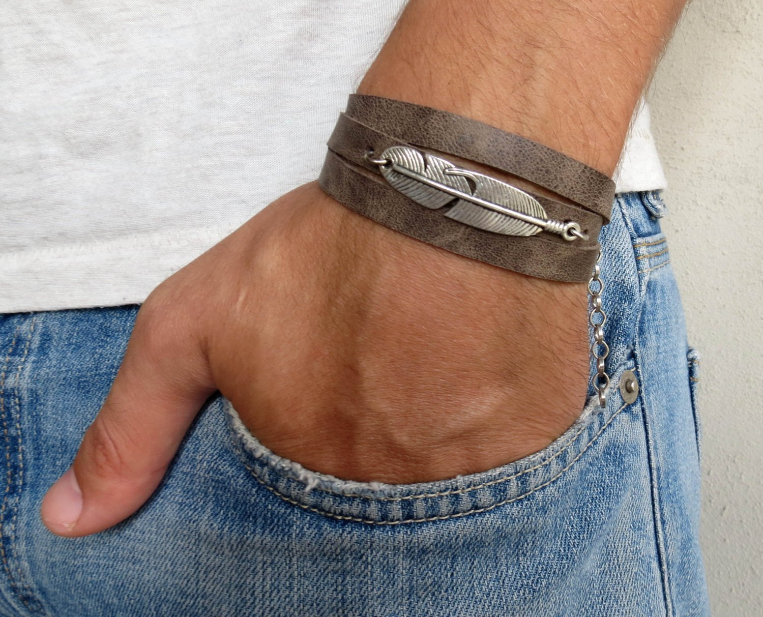 Feather Bracelet For Men Leather Bracelet For Men Handmade Gray Genuine Leather Wrap Bracelet Set With Silver Plated Feather Pendant For Men By Galis Jewelry
