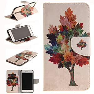 iPhone 7 Plus Case, Newshine Leather [Wallet Case] for Apple iPhone 7 Plus 5.5'' 2016 Release [Kickstand] Folio Carrying Case Cover with Credit Card ID Holders - Colorful Tree