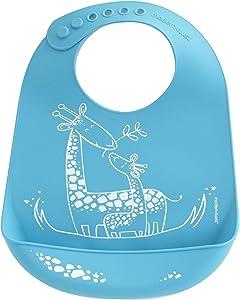 Modern Twist BB10 Waterproof Silicone Adjustable Strap Bucket Baby Bib, Giraffe Giggles