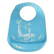 modern-twist Giraffe Waterproof Silicone Baby Bucket Bib with Adjustable Strap, Plastic Free, Wipe Clean and Dishwasher Safe, Blue