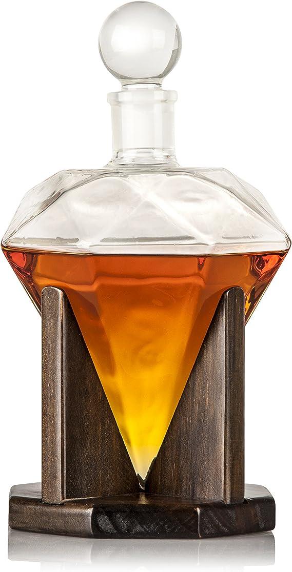 Soplado a mano diamond funda decantadores de cristal decantador de Whisky: plomo libre de madera personalizado con soporte y tapa de tapón, decorativo ...
