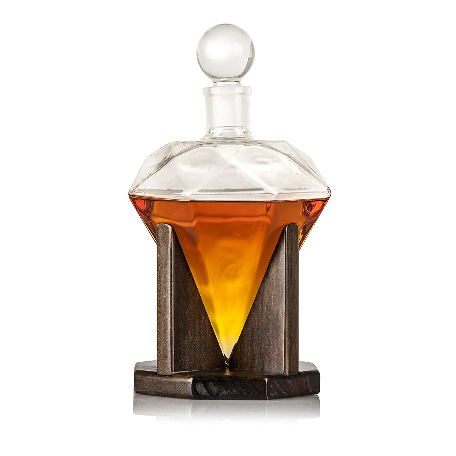 Hand Blown Diamond Whiskey Decanter: Lead Free Glass Designer Decanters with Custom Wood Stand & Airtight Stopper, Decorative Bar Set Tool for Scotch, Bourbon, Rum, Vodka, Wine, Liquors or Spirits Axiam Inc.