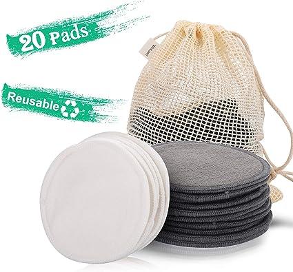 Winload Discos Desmaquillantes Reutilizables, 20 pieza Almohadillas Desmaquillantes Lavables, Desmaquillante Facial Hechos en Fibra de Bambú de Algodón, con Bolsa de Lavandería: Amazon.es: Belleza