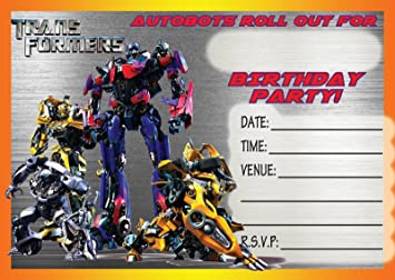 TRANSFORMERS CHILDRENS BIRTHDAY PARTY INVITES INVITATIONS X 10 PACK