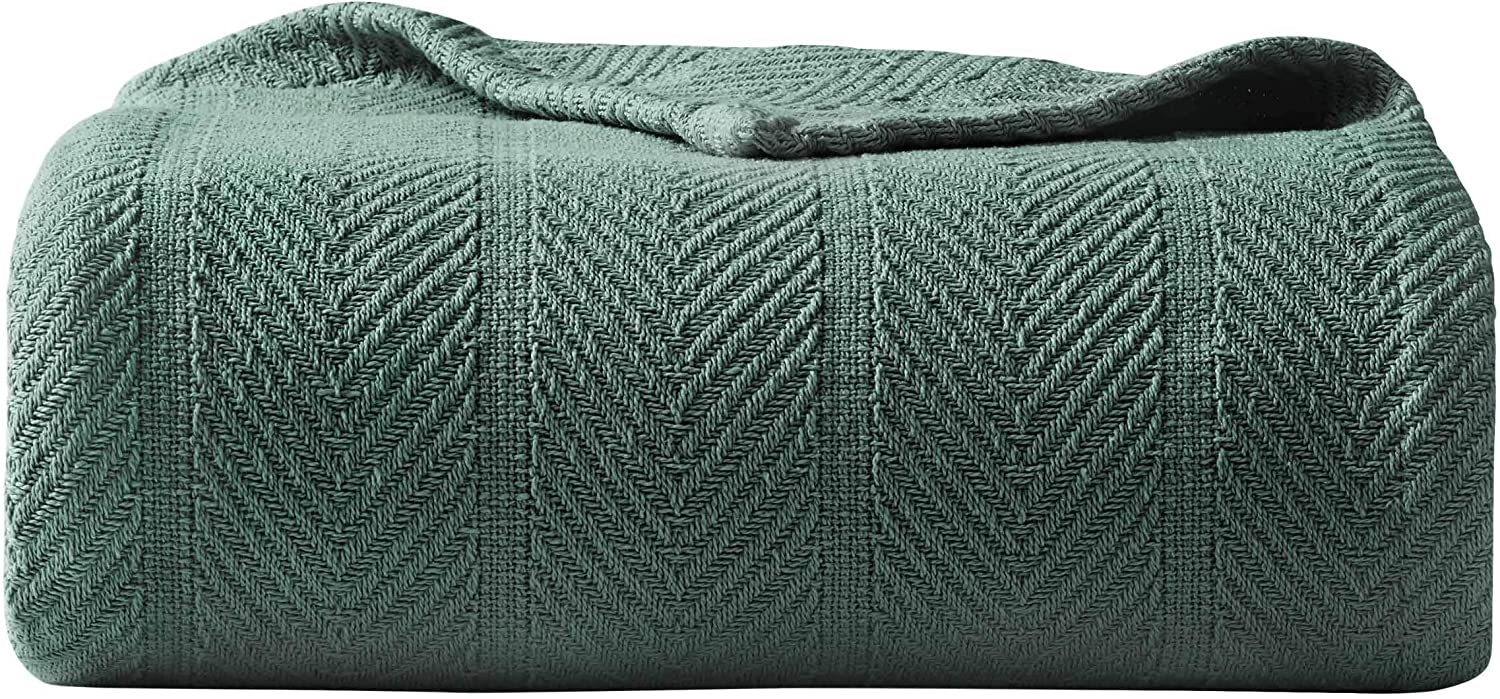 Eddie Bauer | Herringbone Collection | 100% Cotton Light-Weight and Breathable Blanket, Cozy and Soft Throw, Machine Washable, King, Green