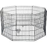 PawHut Recinto per Cani Gatti Cuccioli Roditori Recinzione Rete Gabbia 8 Pezzi 61 x 61cm Nero
