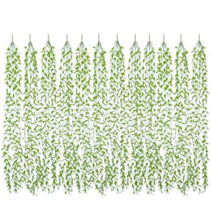 DearHouse 12 Pcs Artificial Vines Fake Greenery Garland Willow Leaves with Total 60 Stems Hanging for Wedding Party Garden Wall Home Decoration