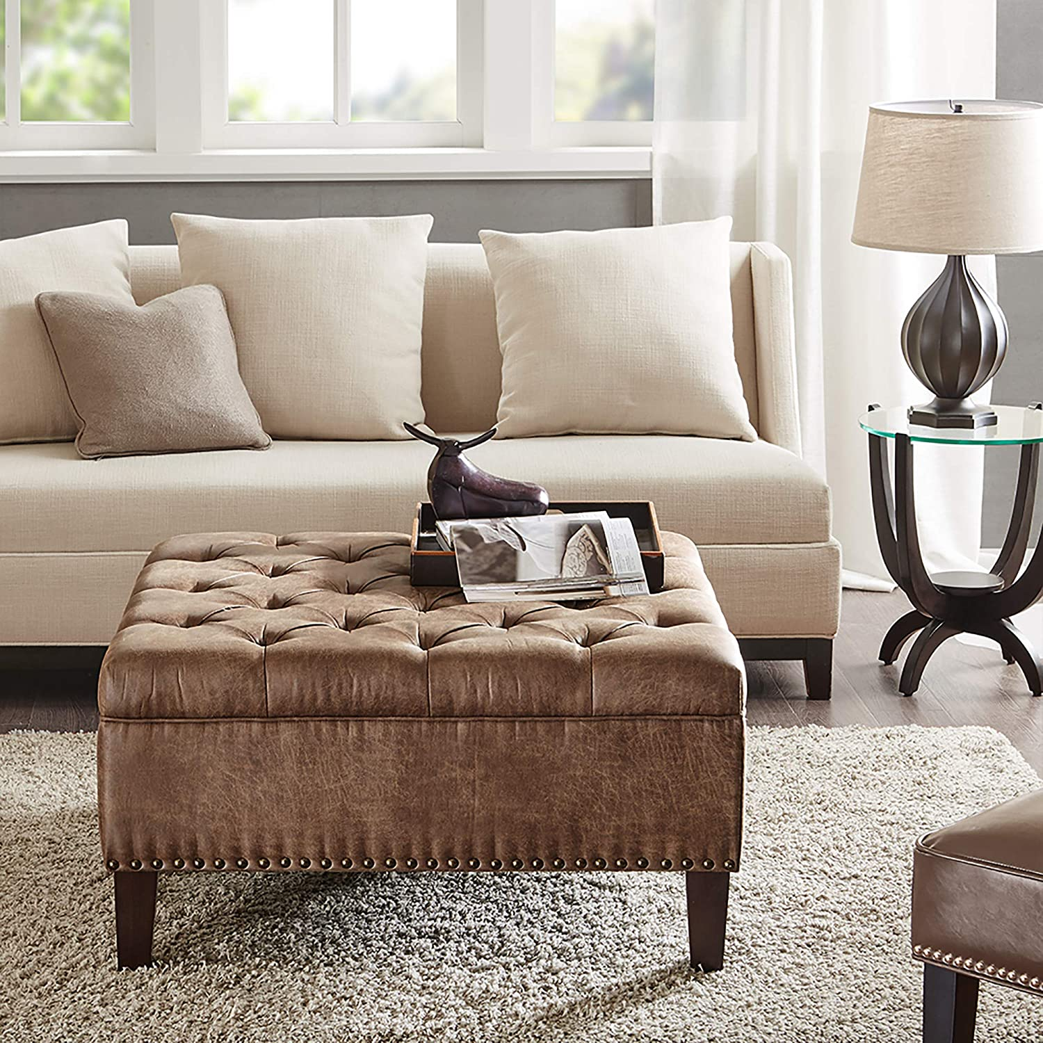 Madison Park Square Tufted Large Faux Leather All Foam Wood Frame Brown Cocktail Ottoman Modern Design Coffee Table For Living Room Furniture Decor