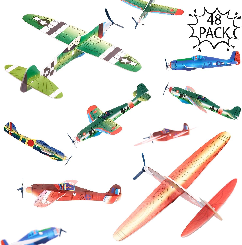 THE TWIDDLERS 48 Aviones planeadores de Papel - Niños Aeroplanos voladores en 12 diseños Distintos Detalles de Fiesta, Rellenos de Bolsas de Fiesta. - Artes y Manualidades