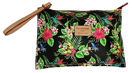 fa04c9ee75bf Cavalcanti Collection Wristlet Black Floral Leather Pouch  Amazon.ca ...