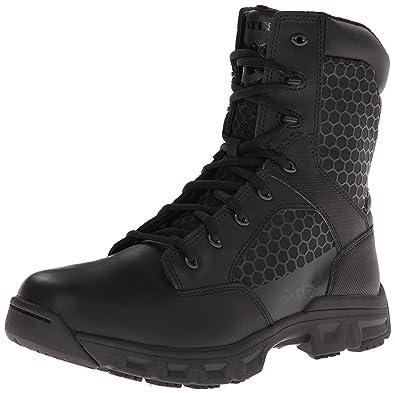 Bates Men's Code 6 Black 8 Inch Leather Nylon Zip Uniform Boot, Black, 8