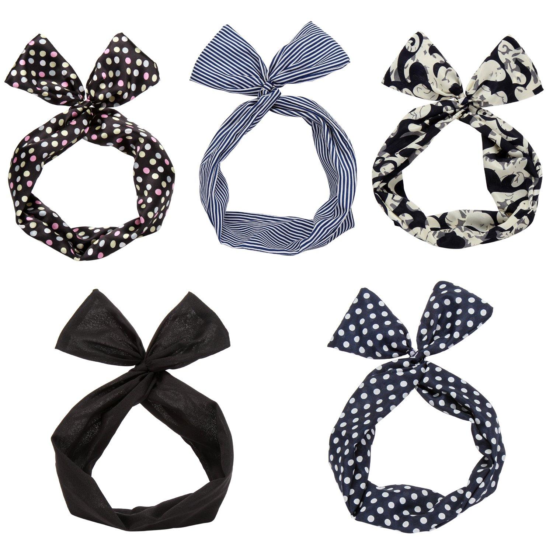Sea Team Twist Bow Wired Headbands Scarf Wrap Hair Accessory Hairband (5 Packs) Xiang_Cai