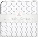 SwaddleDesigns Ultimate Swaddle Blanket, Made in USA, Premium Cotton Flannel, Sterling Mod Circles