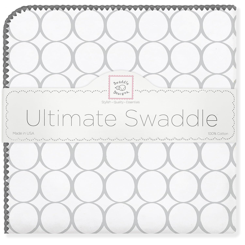 SwaddleDesigns Manta Envolvente Ultimate, Franela de Algodón de calidad superior, Círculos en blanco, Plata SD-022ST