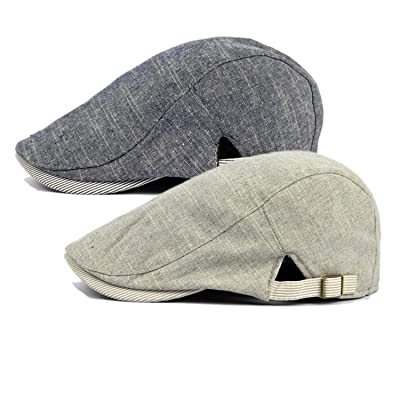 Men/'s Linen Premium Summer Newsboy Flat Driver Ivy Gatsby Snap Brim Stylish Hat