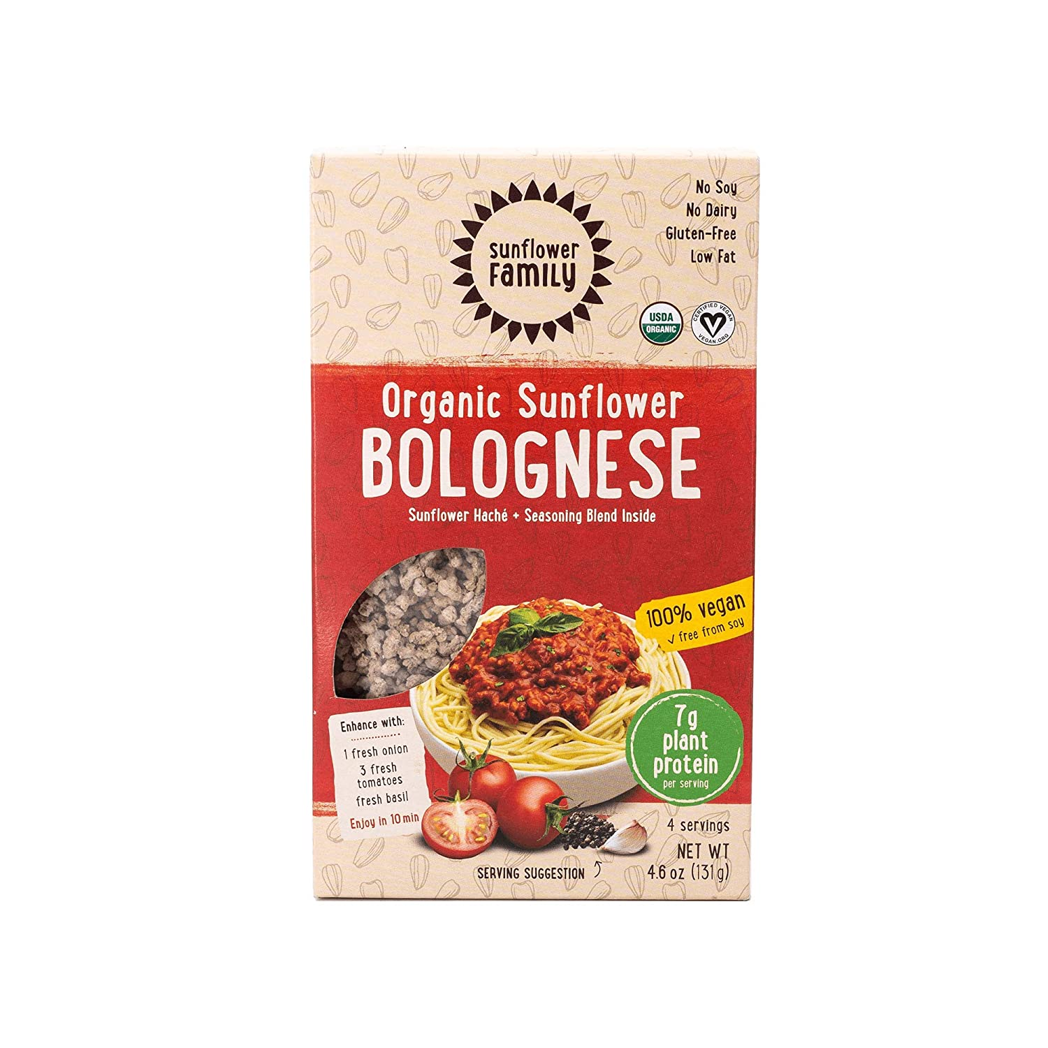 SunflowerFamily Organic Sunflower Bolognese - Plant Based Meat Alternative Ready-To-Cook Meal Kit - Certified USDA Organic, Certified Vegan, Kosher, ...