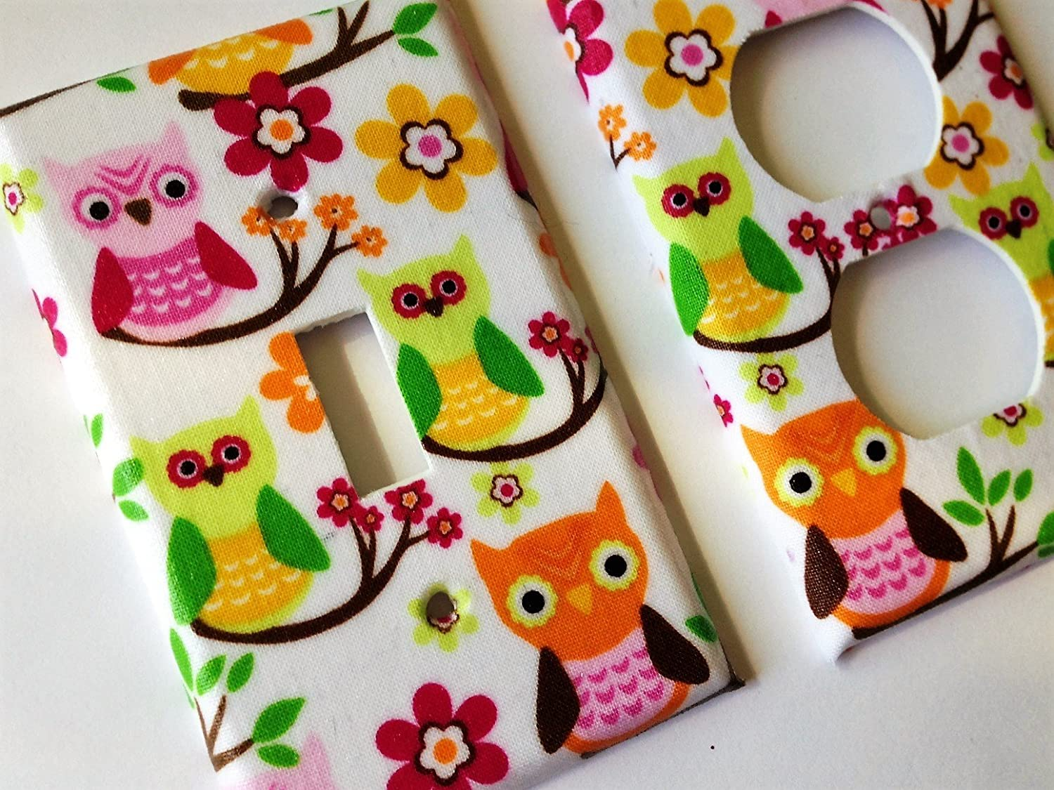 Green Pink Orange Owl Light Switch Cover - Various Sizes Offered