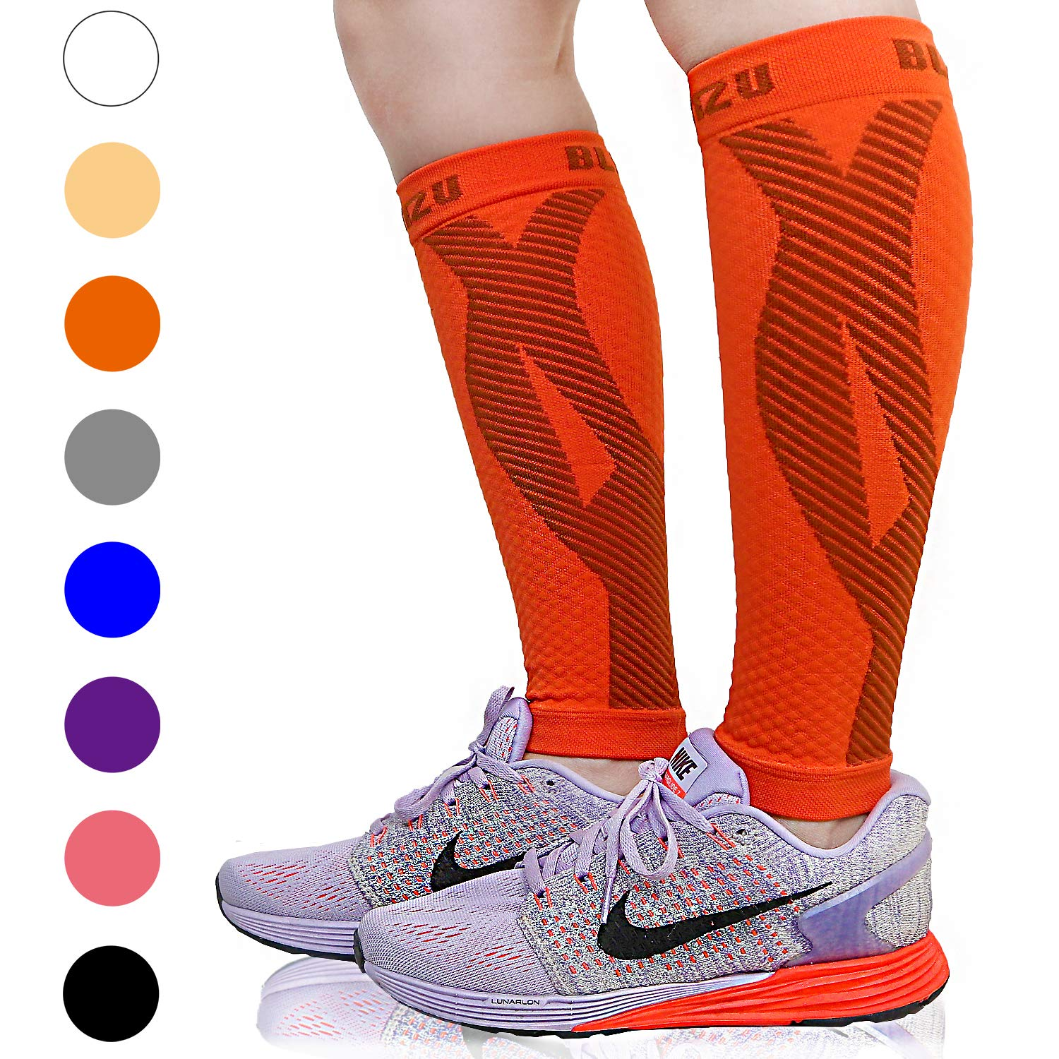 BLITZU Calf Compression Sleeve Leg Performance Support for Shin Splint & Calf Pain Relief. Men Women Runners Guards Sleeves for Running. Improves Circulation and Recovery (Tangerine, Large/X-Large) by BLITZU