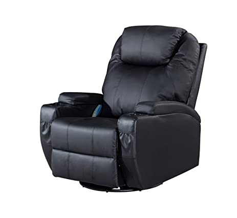 Frivity Massage Rocker Swivel Recliner Chair, Classic And Traditional  Heating Vibrating Bonded Leather Reclining Chair