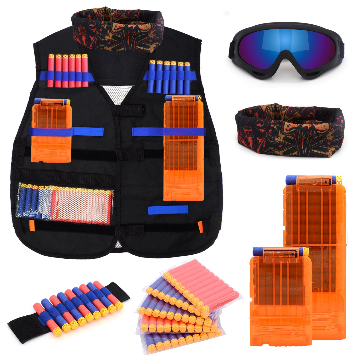 Forliver Kids Tactical Vest Kit, Kids Elite Tactical Vest Kit For Nerf N-strike Elite Series with 50 Refill Darts + 2 Reload Clips + Face Tube Mask + Protective Glasses by Forliver