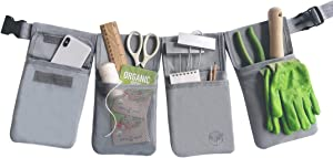 LOOPSEED Waist Tool Belt for Home and Garden Work Apron with Adjustable Belt and Quick-Release Buckle Canvas Bag 4 Individual Utility Pouches with 7 Pockets
