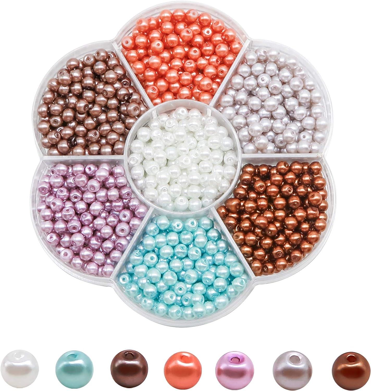 TOAOB 1050 St/ück 4mm Glasperlen Runde Sortierte Mehrfarbig Perlen f/ür Schmuckherstellung