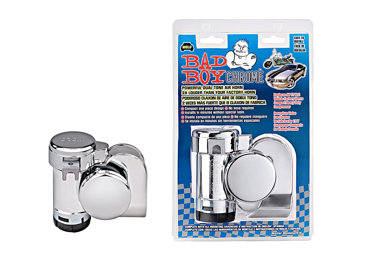 Wolo 519 Bad Boy Chrome Air Horn 12 Volt Automotive Shown Is The Basic Motorcycle Wiring Without Relay
