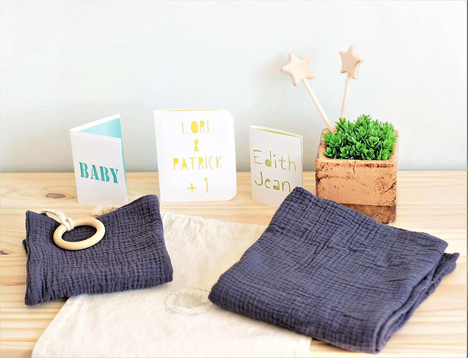 Navy swaddle plus lovey newborn set, personalised card included