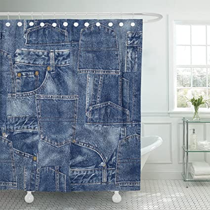 Amazon Emvency Shower Curtain Jeans Denim Material Patchwork